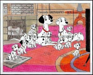 GRENADA - 1988 - DISNEY - 101 DALMATIANS - DOGS - PUPPIES + MINT - MNH S/SHEET!