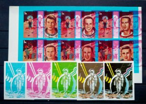 """EXTREMELY RARE UAE SHARJAH 1972, 05 SPACE & ZODIAC SIGNS 01 """"PROOFS SHEET"""" UNIQU"""