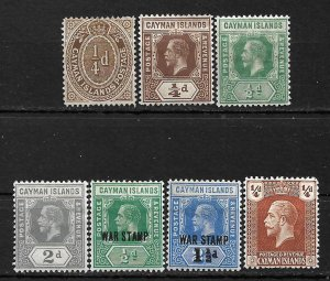 COLLECTION LOT #452 CAYMAN ISLANDS 7 STAMPS MH/UNUSED NO GUM 1908+