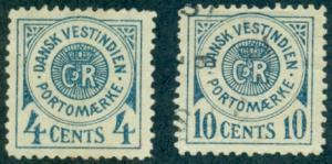 Danish West Indies #J2, J4  Used  Scott $72.50