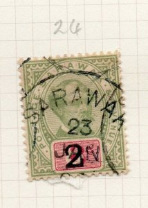 Sarawak 1889 Early Issue Fine Used 2c. Surcharged value Postmark 276129