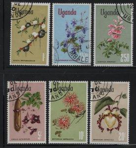 UGANDA  124-129, (6) SET,  USED, 1969 Flower type