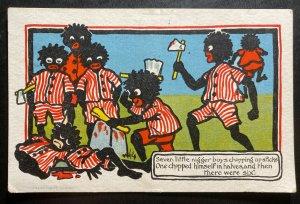 1905 Wells England Black Americana Postcard cover Seven Little Boys Chopped