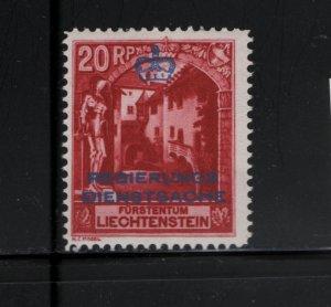 LIECHTENSTEIN, O3 Hinge Remnant, 1932 Surcharge Courtyard, Vaduz Castle