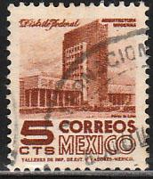 MEXICO 875, 5cents 1950 Definitive 2nd Printing wmk 300. USED. F-VF. (32)