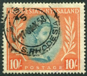 RHODESIA & NYASALAND-1954-56 10/- Dull Blue-Green & Orange Sg 14 GU V42809