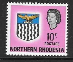 NORTHERN RHODESIA SG87 1963 10/- BRIGHT MAGENTA MTD MINT