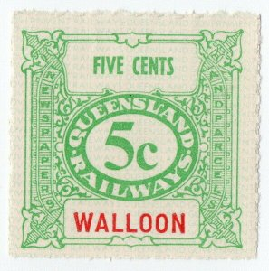 (I.B) Australia - Queensland Railways : Parcel Stamp 5c (Walloon)