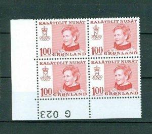 Greenland. 1 MNH 4-Plate Block 1977  # G 023. Queen. Engraver: Cz Slania