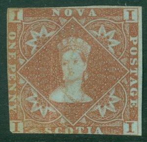 EDW1949SELL : NOVA SCOTIA 1851 Scott #1 VG, Mint NG. Possibly pen cancel removed