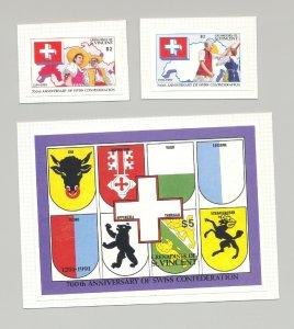 St Vincent Grenadines #812-13 #816 Swiss Confederation 2v & 1v S/S Imperf Proofs