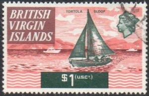British Virgin Islands 1970 $1 Tortola sloop used