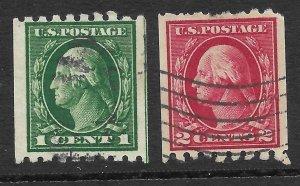 Doyle's_Stamps: Used 1912  1c & 2c Coil Singles, Scott #410 & #411