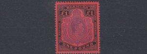 BERMUDA  1951  S G 121D  £1 VIOLET  & BLACK  SCARLET  MNH