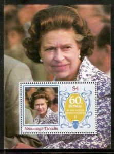 Tuvalu - Nanumaga 1986 Queen Mother Elizabeth Birth Day Sc 56 M/s Perforated ...
