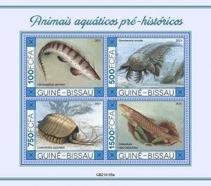 Stamps of GUINEA-BISSAU 2021-  PREHISTORIC WATER ANIMALS.