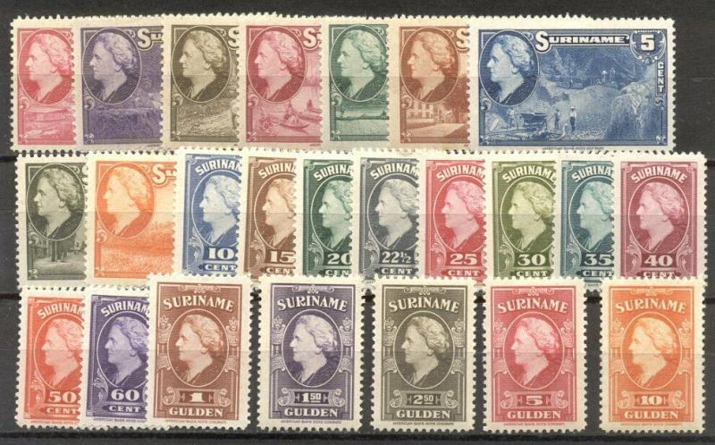 SURINAM #184-207 MInt - 1945 Wilhelmina Set