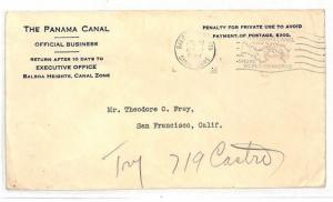 USA CANAL ZONE Cover *Panama Canal* Balboa Heights San Francisco 1939 AJ169
