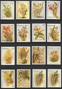 GUYANA (50) Orchid Stamps ALL Different ALL Mint Never Hinged