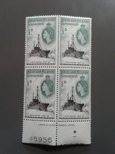 Falkland Islands 1L19 VF MNH Inscription Block. Scott $ 1.00+