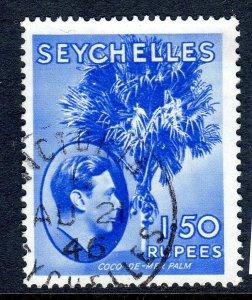 SEYCHELLES-- 1938- sg147  - 1r50  - chalk  - used -  £9.00