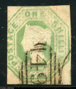 GREAT BRITAIN  ONE SHILLING GREEN  SCOTT#5 USED LOT I