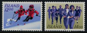 Iceland 578-9 MNH Sports, Skiing, Running