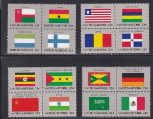 United Nations - New York # 453a-465a, Flags Se-tenant Blocks of 4, NH, 1/2 Cat.