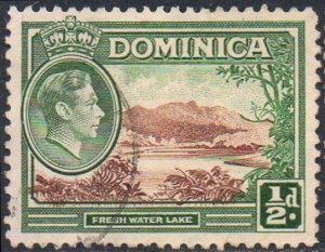 Dominica 1938 ½d Fresh Water lake used