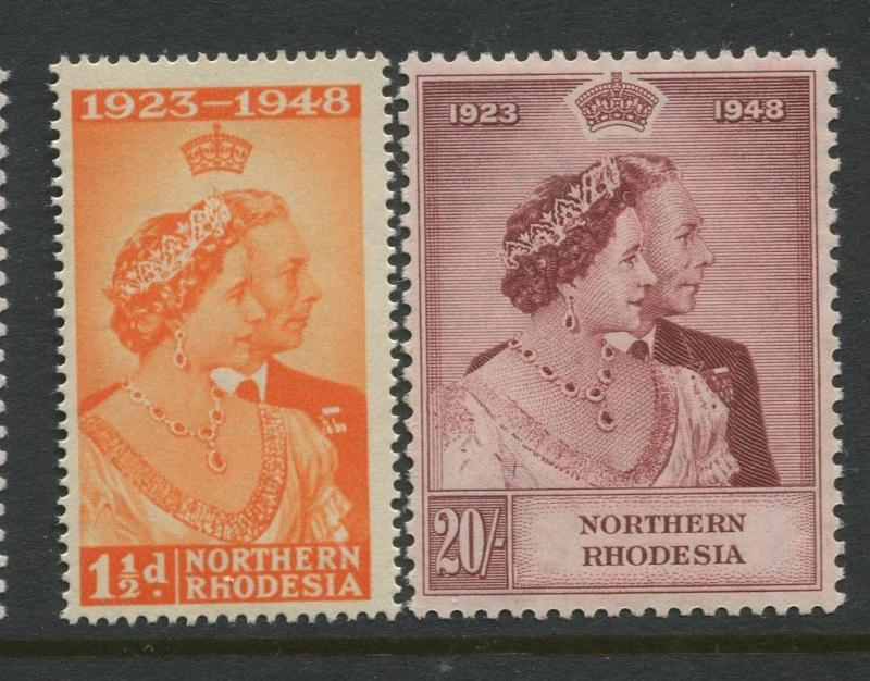 Northerh Rhodesia -Scott 48-49 - Silver Wedding Issue -1948 -MNH-Set of 2 Stamps