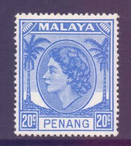 Malaya Penang Scott 37 - SG36, 1954 Elizabeth II 20c MH*