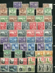 MALTA; 1938 early GVI issues fine MINT LOT of Shades values to 5s.