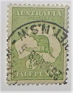 Australia 1. 1913 1/2p Green, used