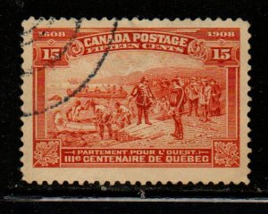 Canada Sc 102 1908 15c Champlain's Departure for the West stamp used