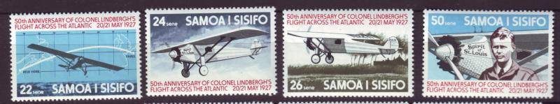 J19646 Jlstamps 1977 samoa set mnh #450-3 spirit of st louis airplane