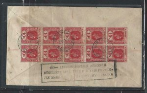 MAURITIUS COVER (P1311B) 1947 KGVI 10C BL OF 10+ PEACE5C REG A/M TO SOUTH AFRICA