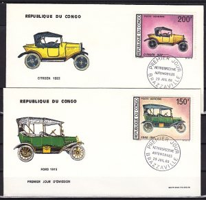 Congo Rep., Scott cat. C67-C68. Early Automobiles issue. 2 First day covers. ^