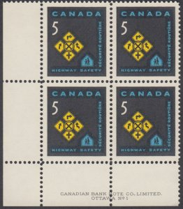 Canada -  #447 Highway Safety Plate Block - MNH