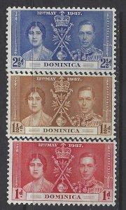 Dominica, Scott #94-96; King George VI Coronation, MNH
