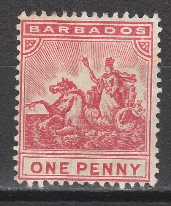 BARBADOS 1905 QV SEAHORSES 1D WMK MULTIPLE CROWN CA