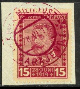 BOSNIA AND HERZEGOVINA 1917 15h ARCHDUKE MEMORIAL P11 1/2 Semi Postal Sc B14a Us