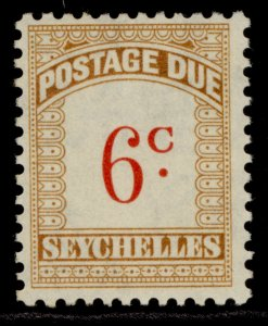 SEYCHELLES GVI SG D3, 6c scarlet & bistre, M MINT.
