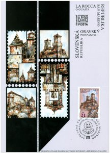 SLOVAKIA/2007,(Coll. Sheet) Joint Issue with San Marino - La Rocca o Guaita, MNH