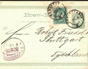 NORWAY Uprated Stationery Card 5 Ore Christiania Germany Stuttgart 1888 SS13