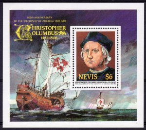 Nevis 1986 CHRISTOPHER COLUMBUS SHIPS s/s Perforated Mint (NH)