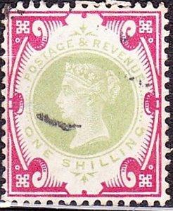 GREAT BRITAIN 1900 QV 1/- Green & Carmine SG214 Used CV £125