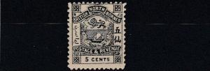 NORTH BORNEO  1888 - 92  S G 41  5C  SLATE        MH