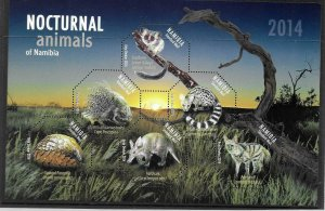[SOLD] 2014    NAMIBIA  -  SG.  MS 1235  -  NOCTURNAL ANIMALS  -  MNH