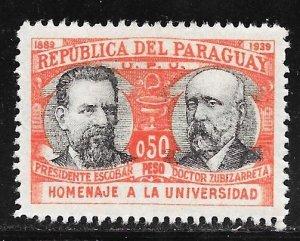 Paraguay 351: 50c President Escobar and Zubizarreta, MH, VF