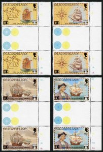 Falkland Is SG643-6 500th Anniversary of Columbus in GUTTER PAIRS U/M